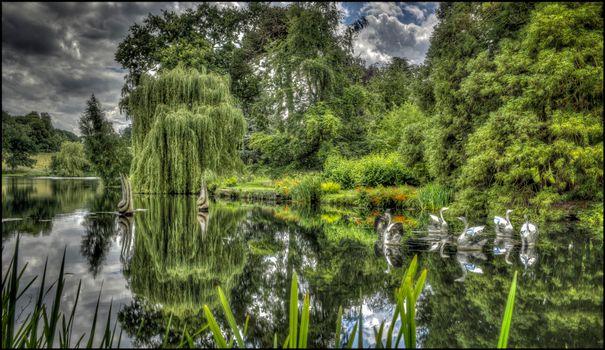 Великобритания, Burghley, сад, парк, озеро