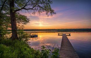 Бесплатные фото закат, озеро, деревья, причал, пейзаж