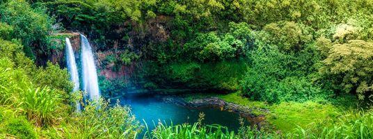 Фото бесплатно река, водопад, лес, деревья, пейзаж, панорама, Kauai, Hawaii