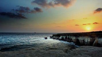 Бесплатные фото закат,море,скалы,волны,пейзаж