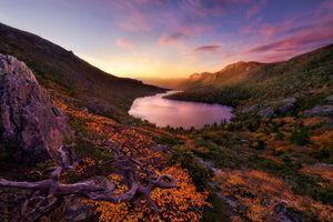 Бесплатные фото Озеро Хансон,Cradle Mountain Nationa lPark,Тасмания,Гондвана,Австралия,закат,горы