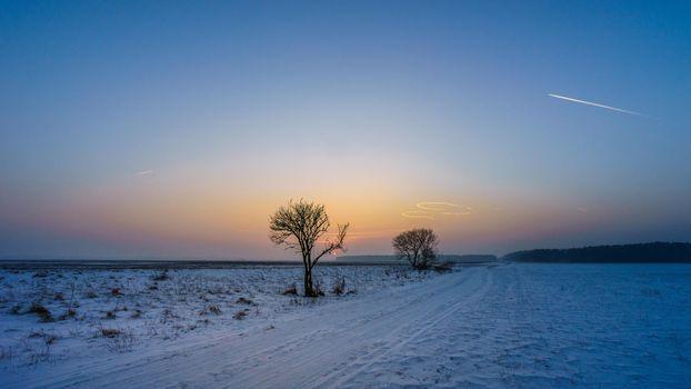 Photo free field, winter, landscape