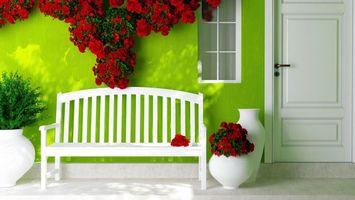 Бесплатные фото dver,okno,lavochka,cvety