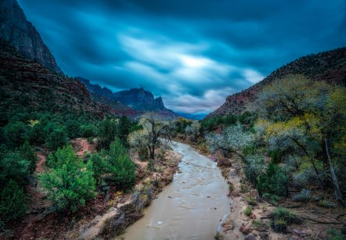 Заставки Zion National Park, река, тучи