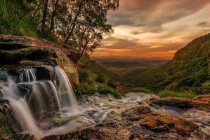 Бесплатные фото Morans Falls,Lamington National Park,Queensland,Australia,закат,водопад,пейзаж