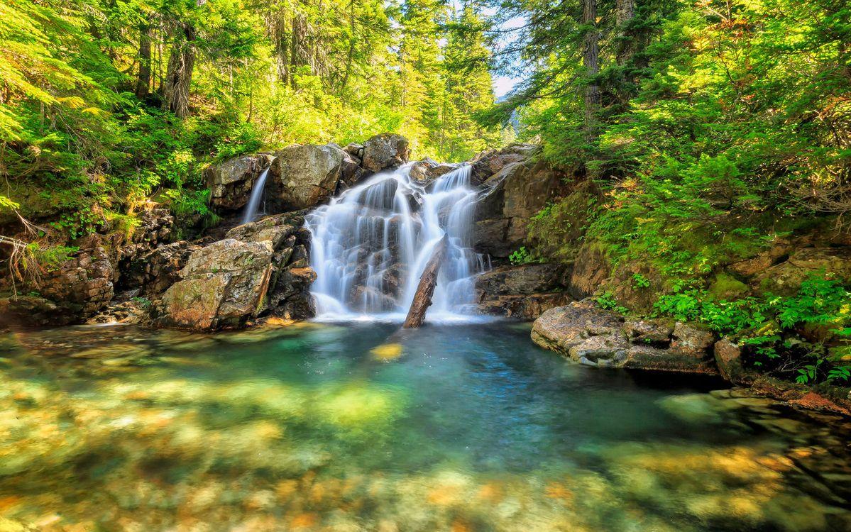 Фото бесплатно водопад, лес, скалы, речка, деревья, природа, природа