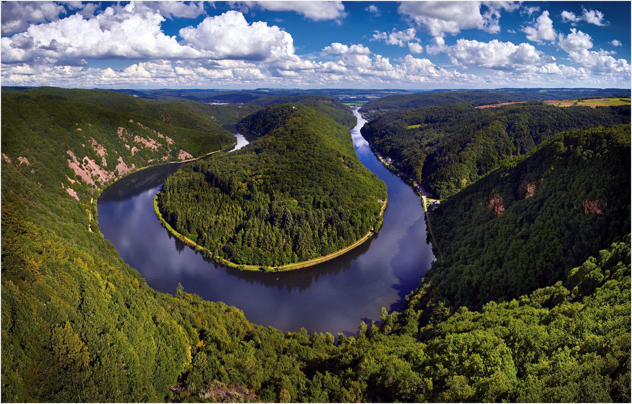 обои река Саар, Петля реки Саар в Метлахе, Германия, Метлах картинки фото