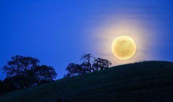 Фото бесплатно ночь, луна, холм