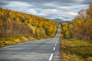 Заставки Senja, Norway, осень, дорога, горы, деревья, пейзаж