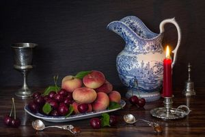 Photo free Peaches, cherry, candle