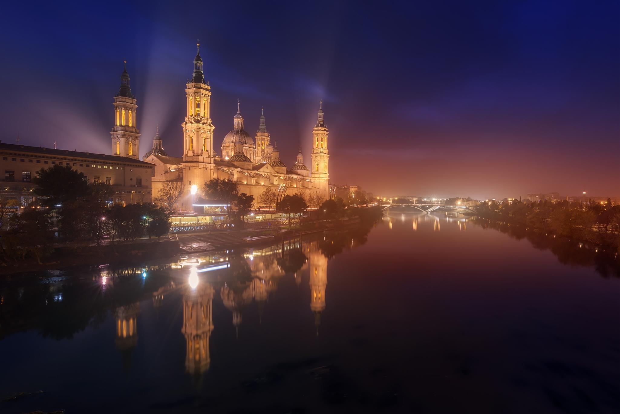 Обои Сарагоса, Испания, Zaragoza, ночь