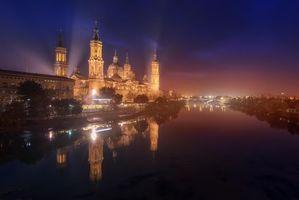 Бесплатные фото Сарагоса,Испания,Zaragoza,ночь,туман,огни,город