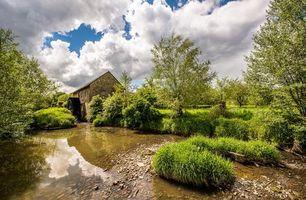 Бесплатные фото Лимбург,Нидерланды,водяная мельница,река,деревья,пейзаж