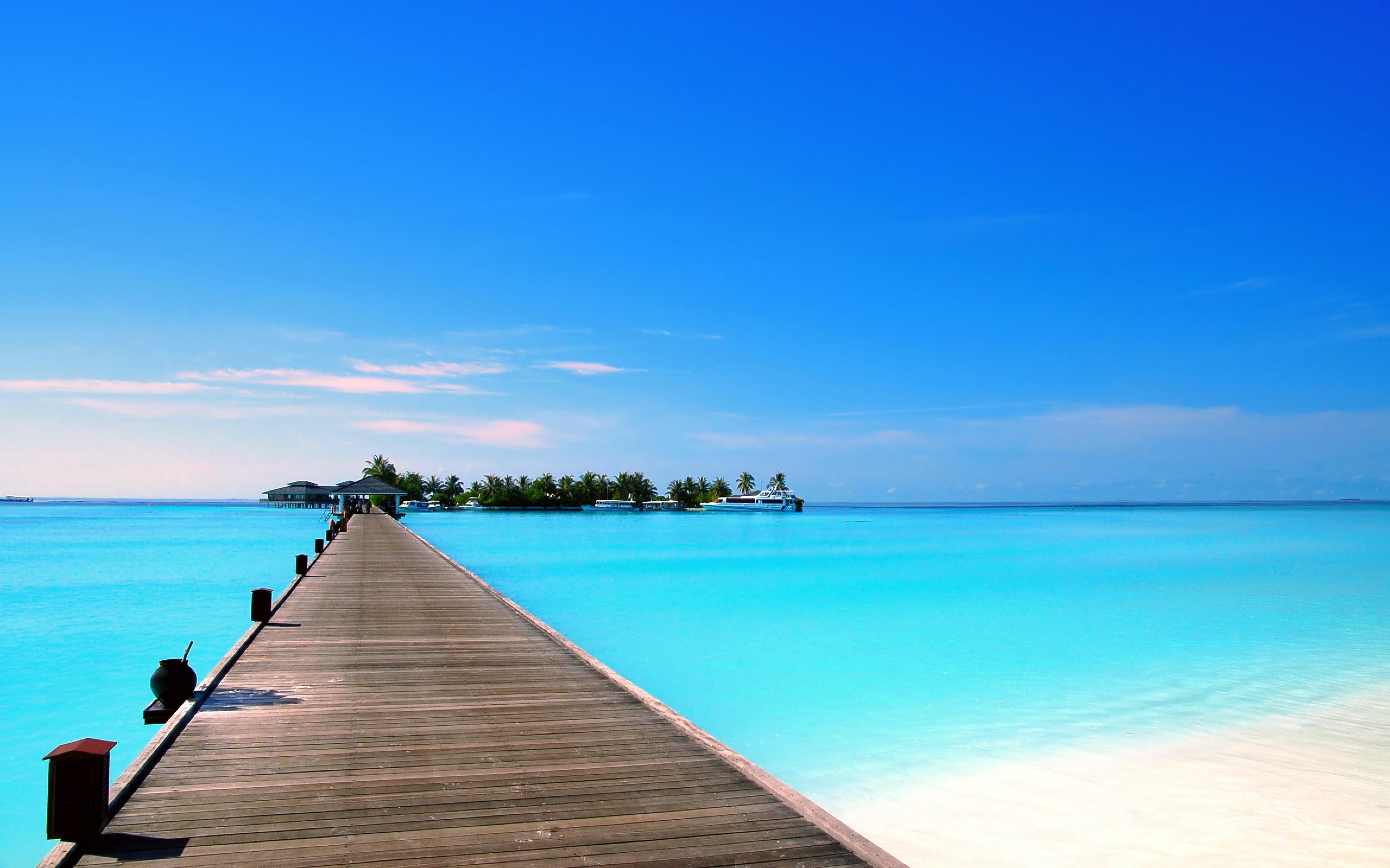 тропики, Мальдивы, море, остров, пляж, яхты