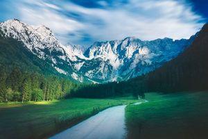 Заставки горы, поле, дорога