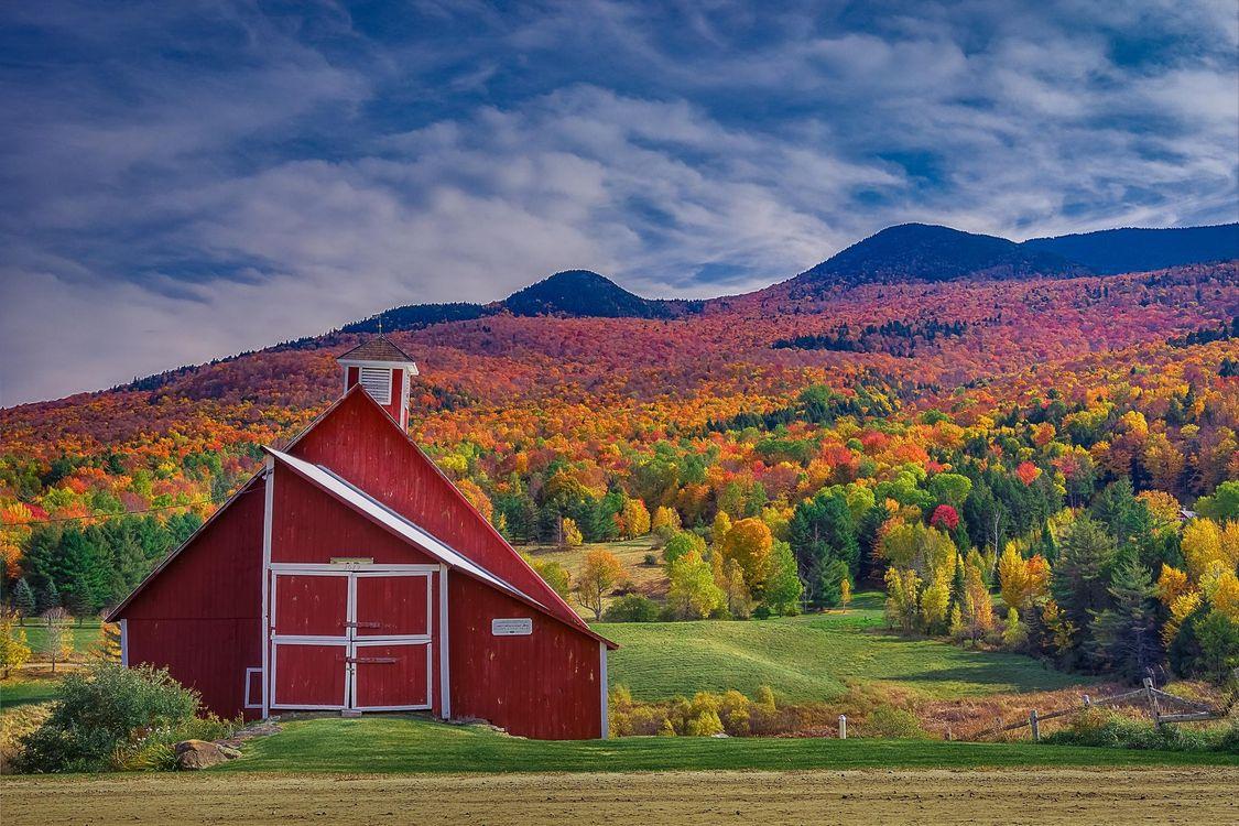 Фото бесплатно Вермонт, поля, горы - на рабочий стол