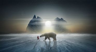 Обои закат, зима, северный полюс, белый медведь, девушка, скалы, art