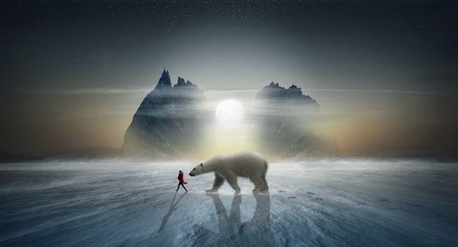 Фото бесплатно закат, зима, северный полюс