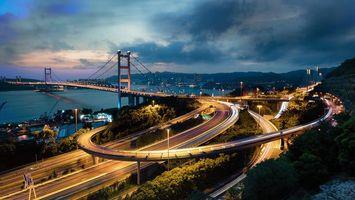 Заставки Hong Kong, Китай, Гонконг мост, ночь, огни