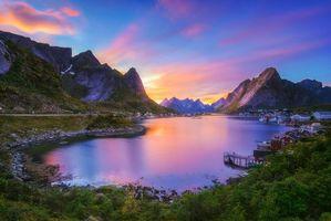 Обои Лофотенские острова, Норвегия, закат, горы, пейзаж