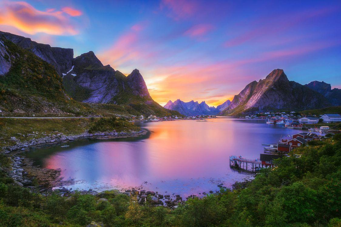 Фото бесплатно Лофотенские острова, Норвегия, закат - на рабочий стол