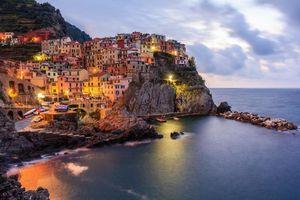 Заставки Манарола, Чинкве-Терре, Италия, Manarola, Cinque Terre, закат, огни, иллюминация