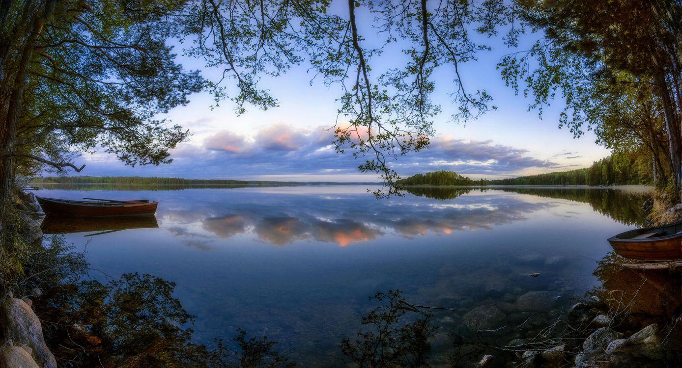 Фото бесплатно закат, озеро, деревья, Финляндия, небо, отражение, пейзаж, пейзажи
