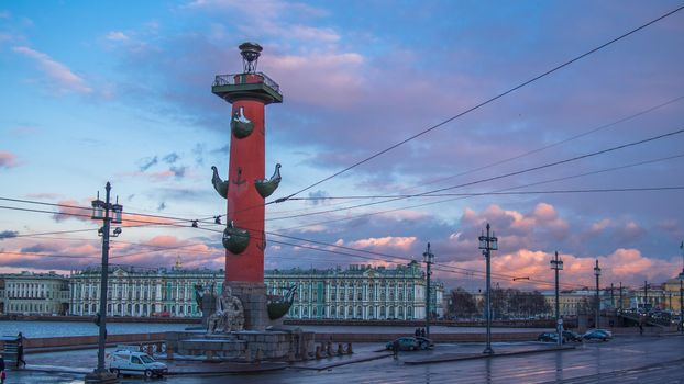 Photo free Rostral column and the State Hermitage Museum, St Petersburg, city