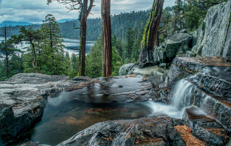 Тахо озеро, Северная Калифорния, пейзаж, водопад, скалы, лес, деревья, природа