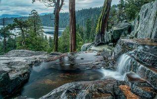 Бесплатные фото Тахо озеро, Северная Калифорния, пейзаж, водопад, скалы, лес, деревья