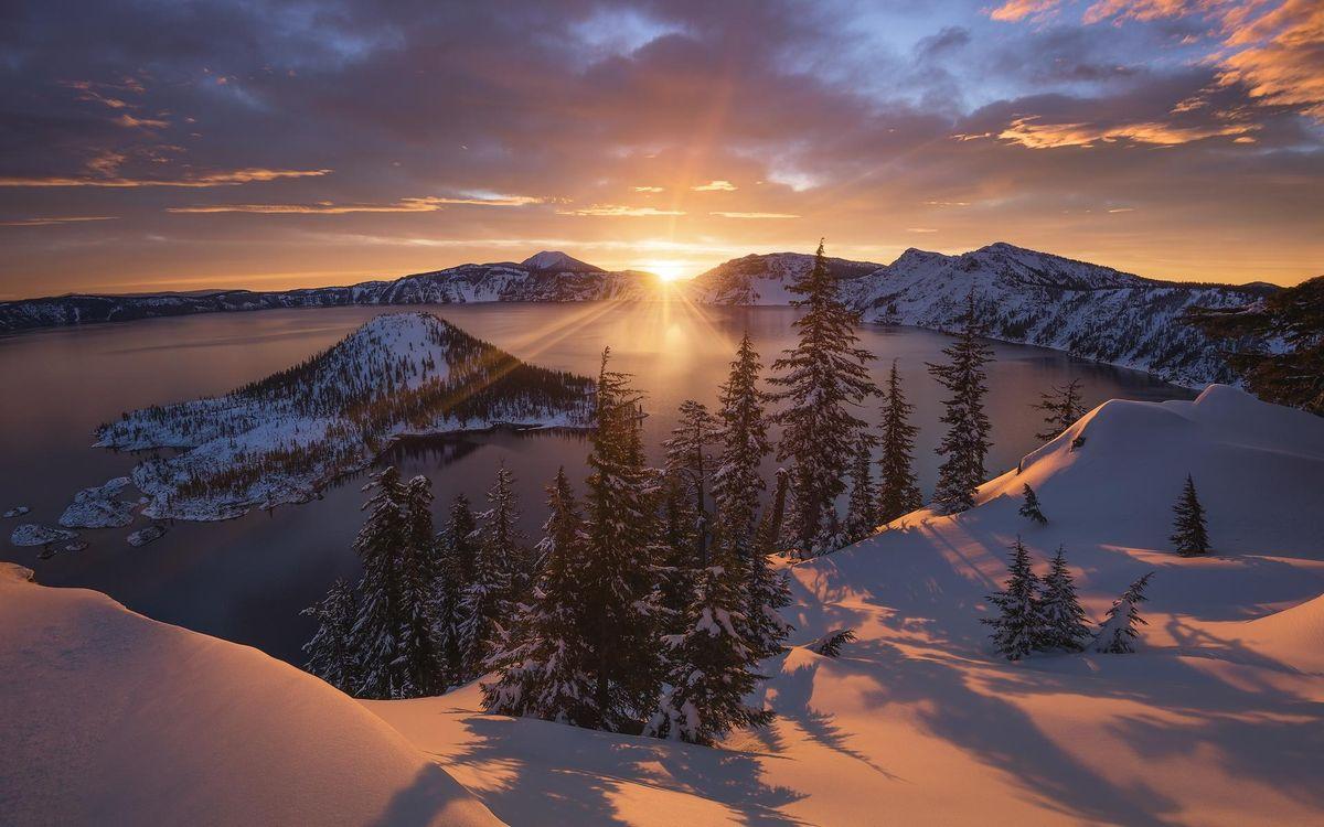 Фото бесплатно Кратерное озеро, штат Орегон, США, закат, зима, пейзаж, пейзажи