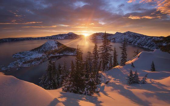 Фото бесплатно Кратерное озеро, штат Орегон, США