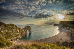 Фото бесплатно Дорсет, Ла-Манш, Durdle Door, Дердл-дор, Великобритания, Англия, море, скала, арка, закат, пляж, берег, пейзаж