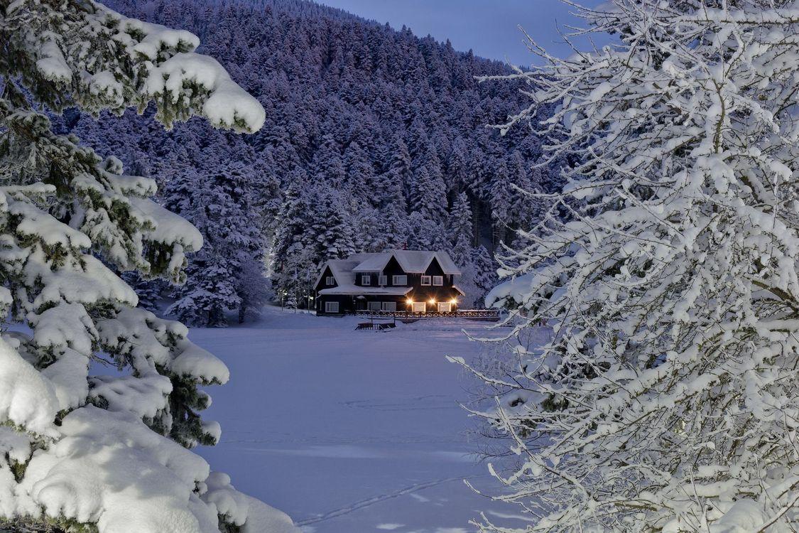 Фото бесплатно зима, снег, деревья, домик, сугробы, ночь, свет - на рабочий стол