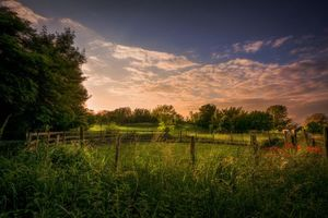 Бесплатные фото закат, поле, участок, забор, деревья, пейзаж