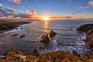 Заставки Ирландия закат, скалы, море