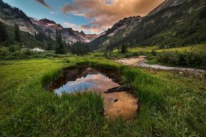 Заставки пруд, горы, поля