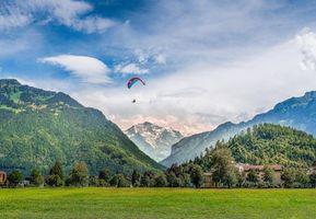 Фото бесплатно Интерлакен, Швейцария горы, поле