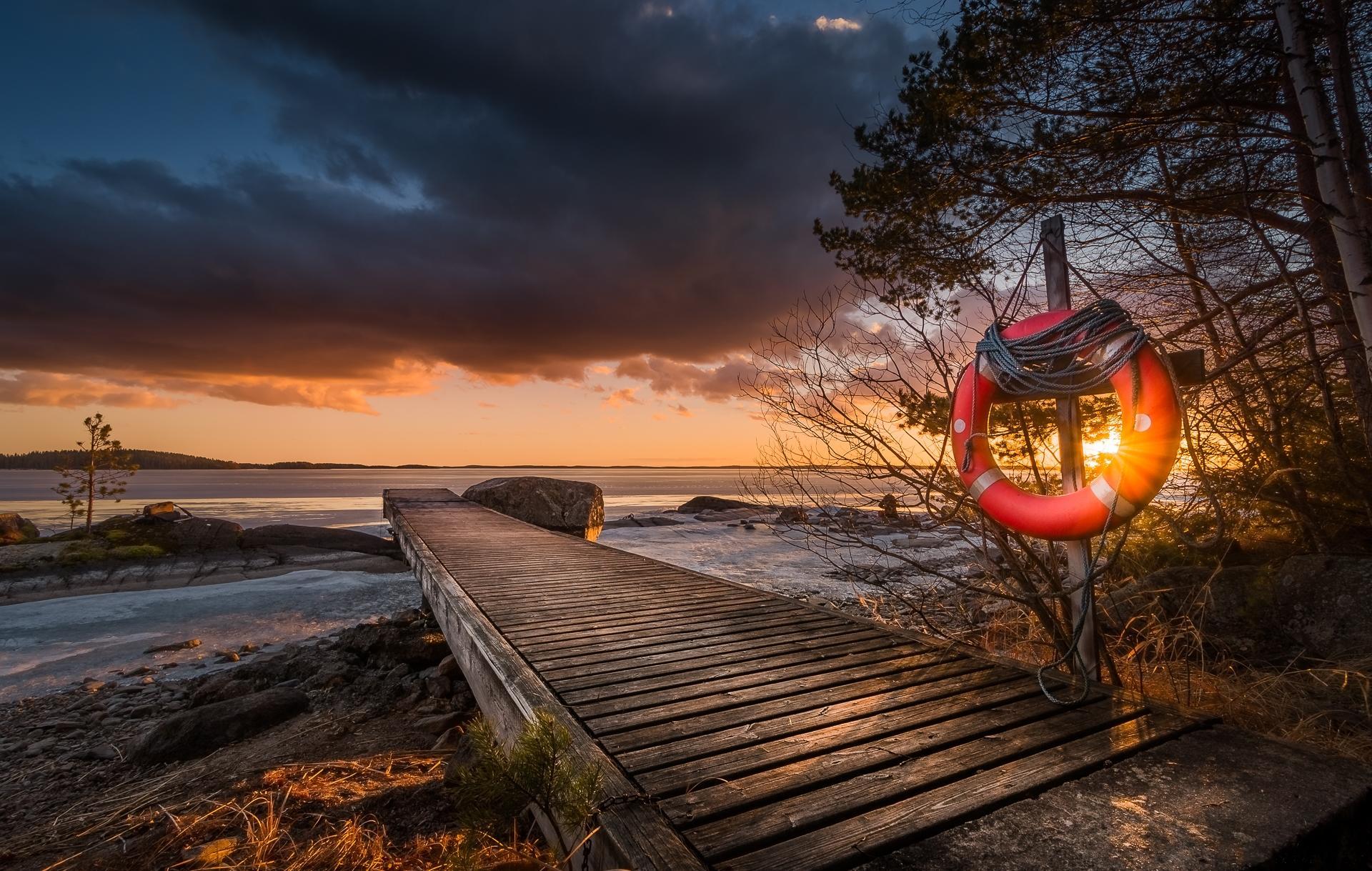 Обои Финляндия, закат, пристань, озеро