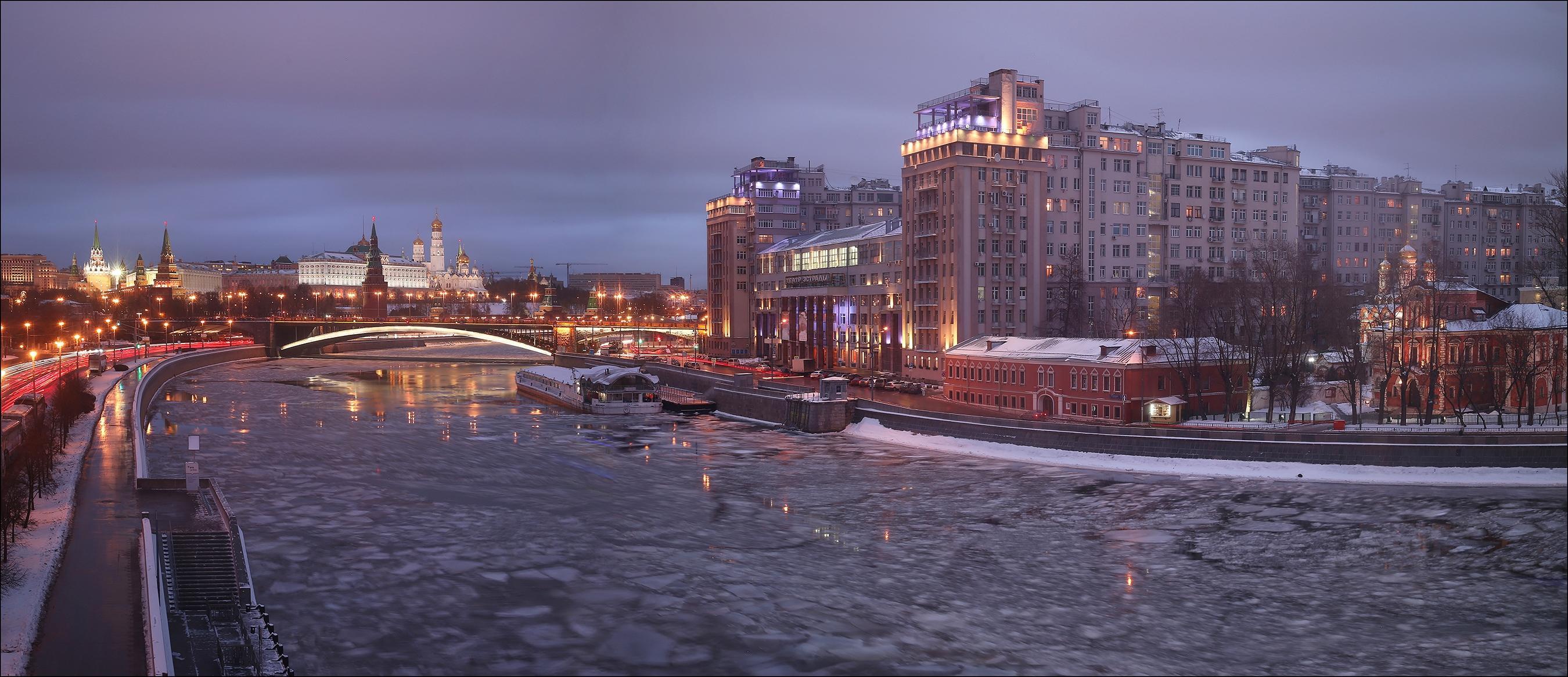 Обои Москва-река, Москва, Россия, Московский Кремль