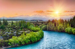 Бесплатные фото река Клутха, Новая Зеландия, закат, горы, деревья, пейзаж