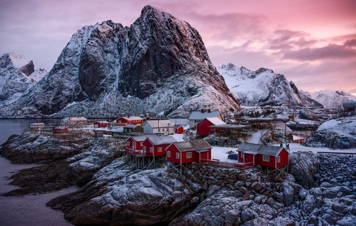 Фото бесплатно Лофотены, Норвегия, Лофотенские острова, острова, горы, скалы, домики, водоем, небо, пейзаж, природа, вид, берег, пейзажи