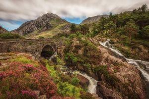 Заставки Snowdonia, горы, мост, скалы, камни, цветы, речка, водопад, деревья, пейзаж