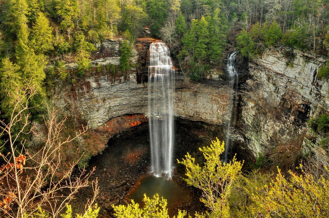 Фото бесплатно Falls Creek Falls State Park, Государственный парк Фоллс-Крик-Фоллс, водопад, скалы, лес, деревья, пейзаж, пейзажи