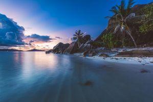 Бесплатные фото Сейшельские острова,закат,море,берег,пляж