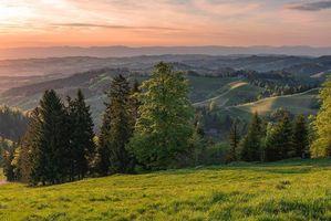 Фото бесплатно Швейцария, закат, холмы