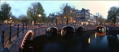 Заставки Амстердам, Нидерланды, Голландия, канал, улица, дома, город, панорама