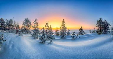 Фото бесплатно закат, сугробы, пейзаж