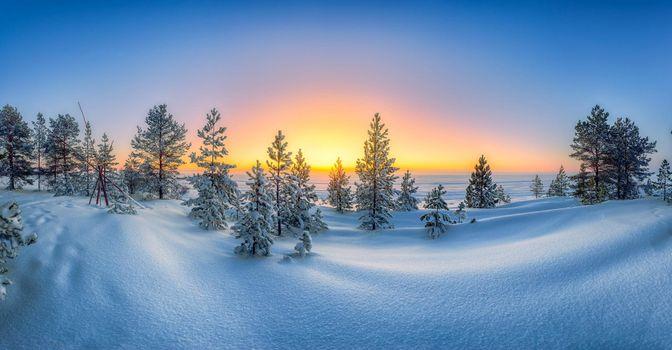 Photo free sunset, snowdrifts, landscape