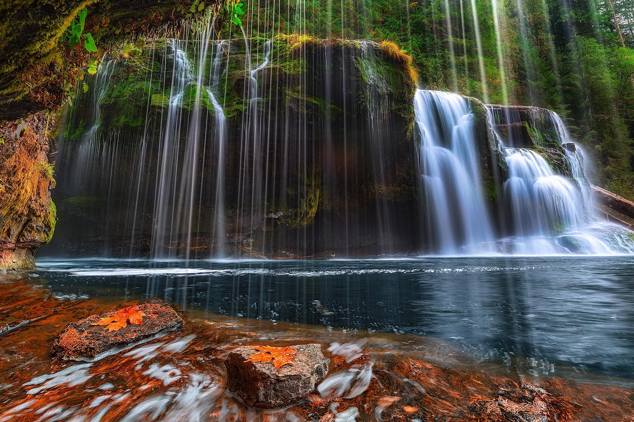 Обои Washington, Lower Lewis River Falls, Национальный друг Гиффорда, Пинхота